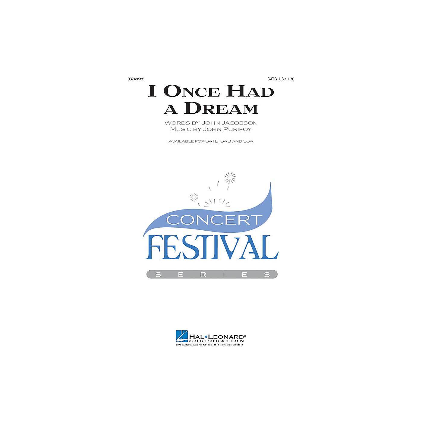 Hal Leonard I Once Had a Dream SATB composed by John Jacobson thumbnail