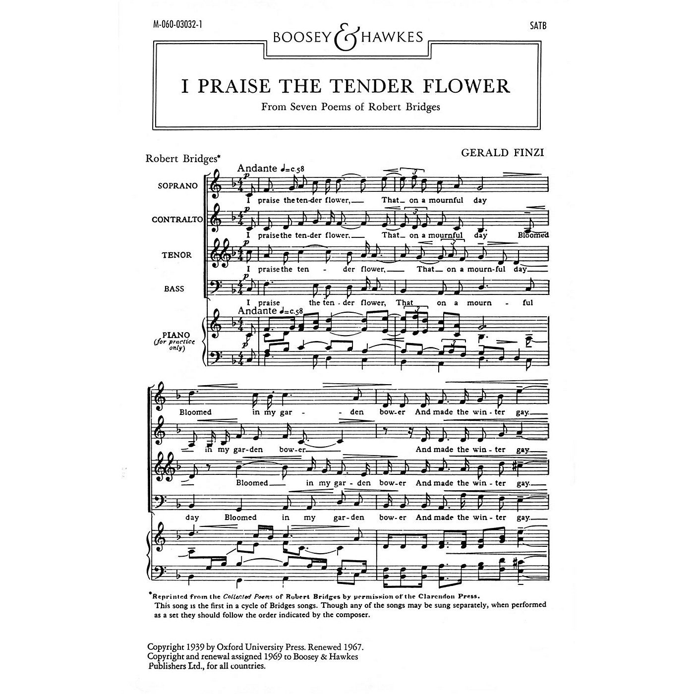 Boosey and Hawkes I Praise the Tender Flower (No. 1 from Seven Poems of Robert Bridges) SATB composed by Gerald Finzi thumbnail