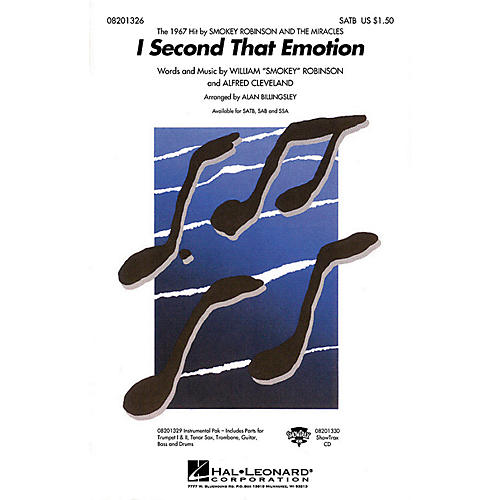 Hal Leonard I Second That Emotion SATB by The Miracles arranged by Alan Billingsley thumbnail