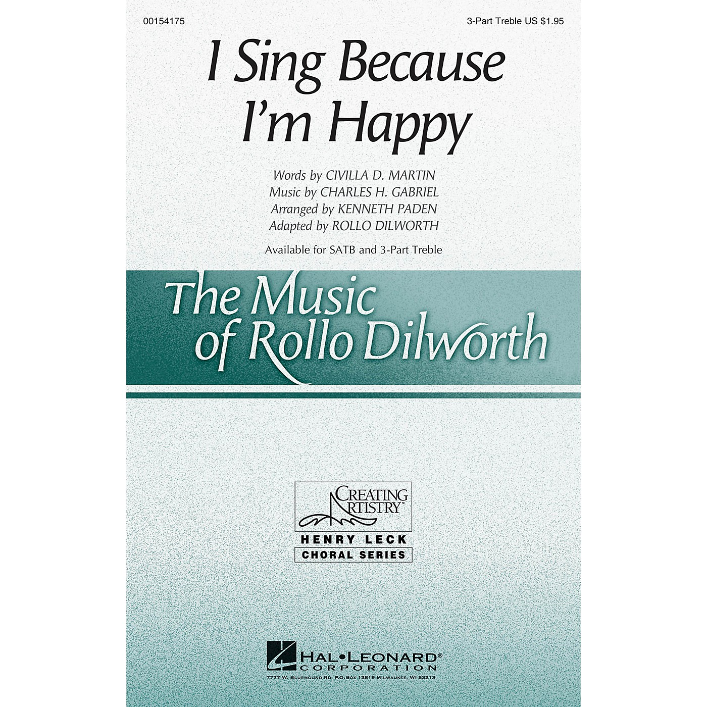 Hal Leonard I Sing Because I'm Happy 3 Part Treble arranged by Rollo Dilworth thumbnail