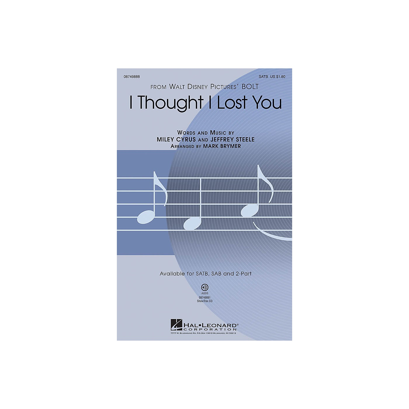 Hal Leonard I Thought I Lost You (from Bolt) 2-Part by John Travolta Arranged by Mark Brymer thumbnail