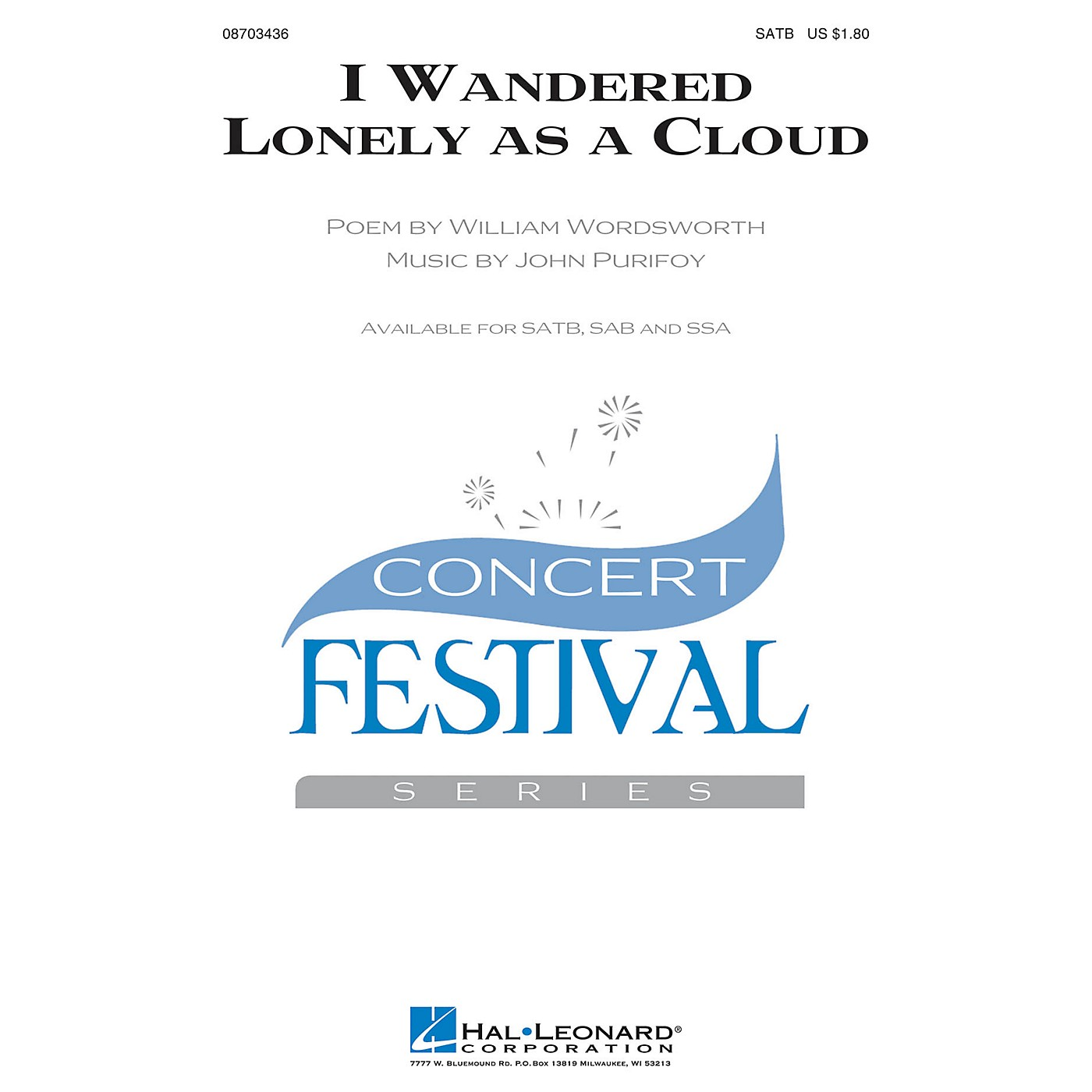 Hal Leonard I Wandered Lonely as a Cloud SAB Composed by John Purifoy thumbnail