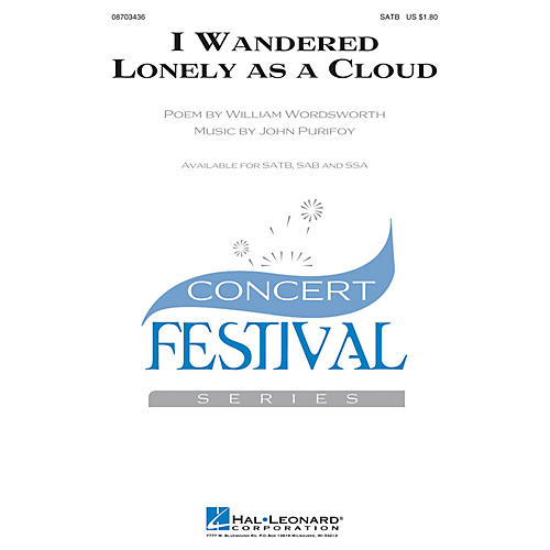 Hal Leonard I Wandered Lonely as a Cloud SSA Composed by John Purifoy thumbnail