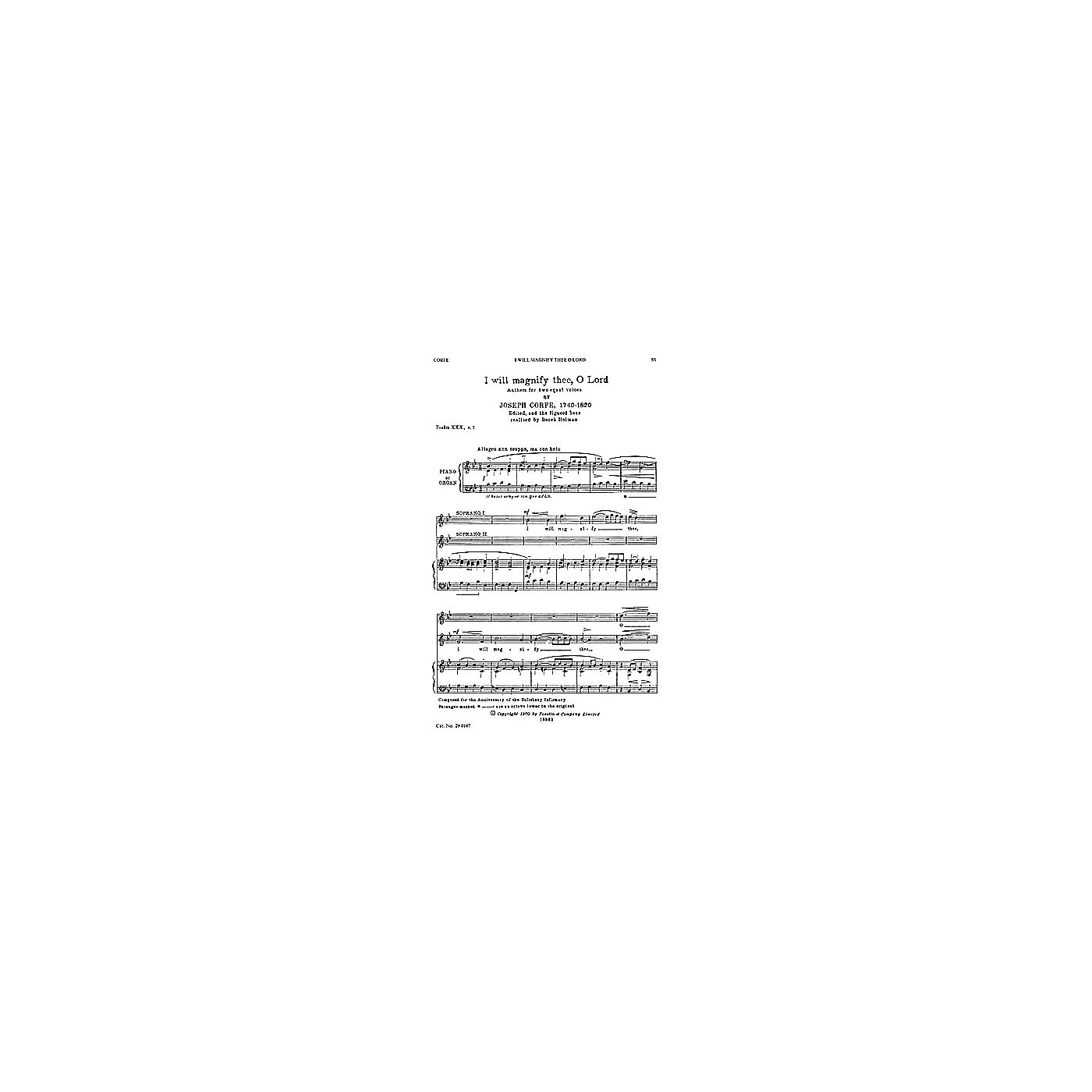 Novello I Will Magnify Thee, O Lord SS Composed by Joseph Corfe thumbnail
