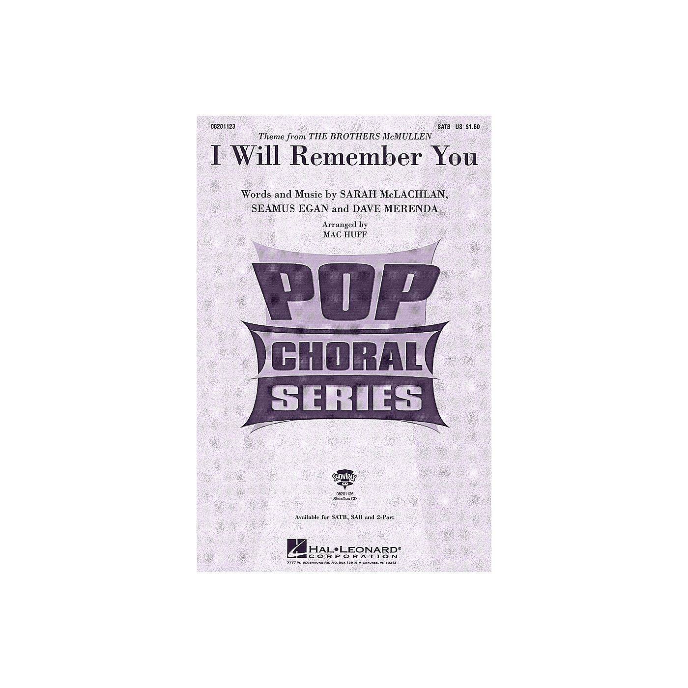 Hal Leonard I Will Remember You SATB by Sarah McLachlan arranged by Mac Huff thumbnail
