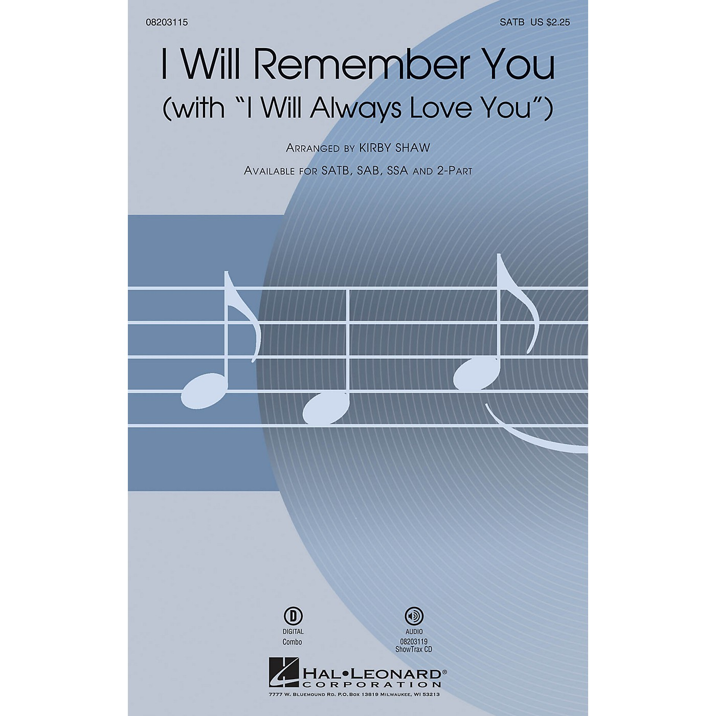 Hal Leonard I Will Remember You (with I Will Always Love You) SATB by Whitney Houston arranged by Kirby Shaw thumbnail