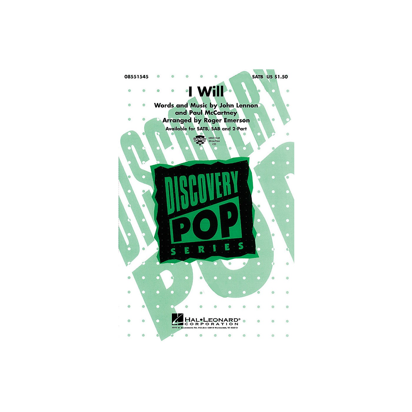 Hal Leonard I Will SAB by The Beatles Arranged by Roger Emerson thumbnail