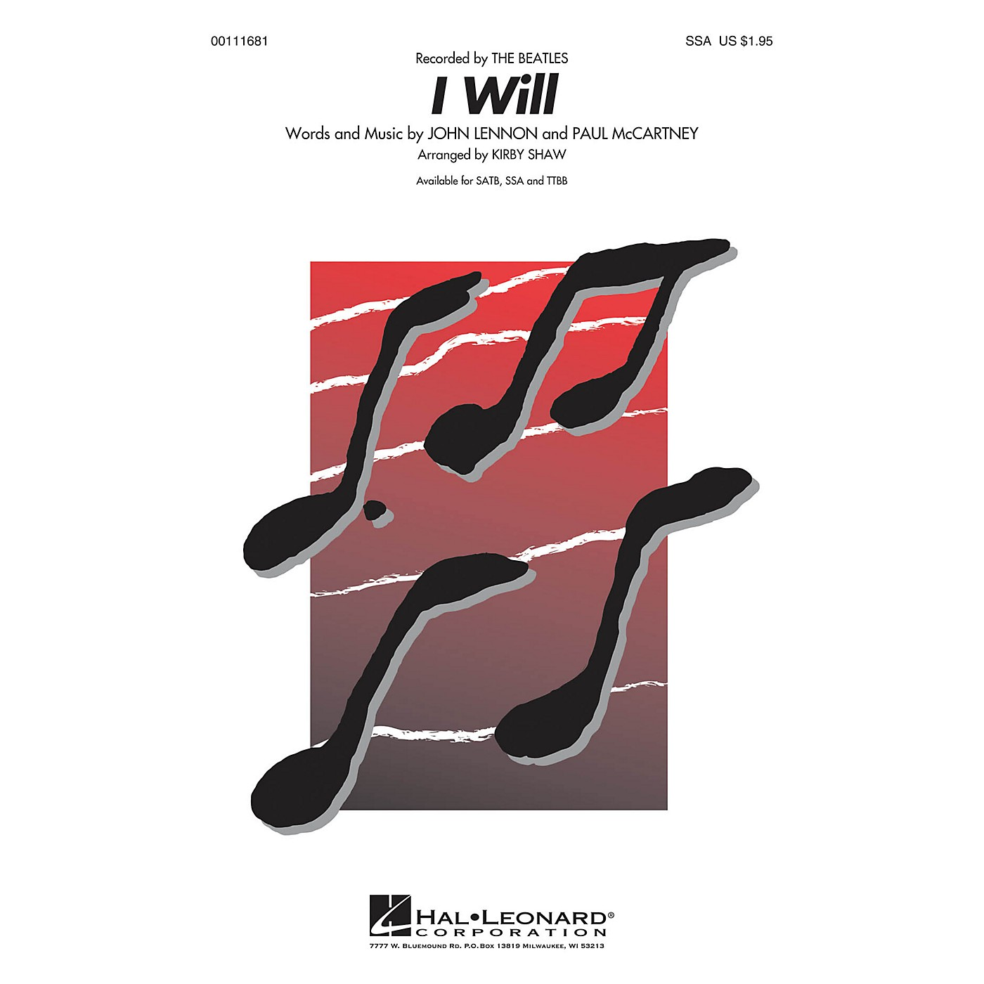 Hal Leonard I Will SSA A Cappella by Beatles arranged by Kirby Shaw thumbnail