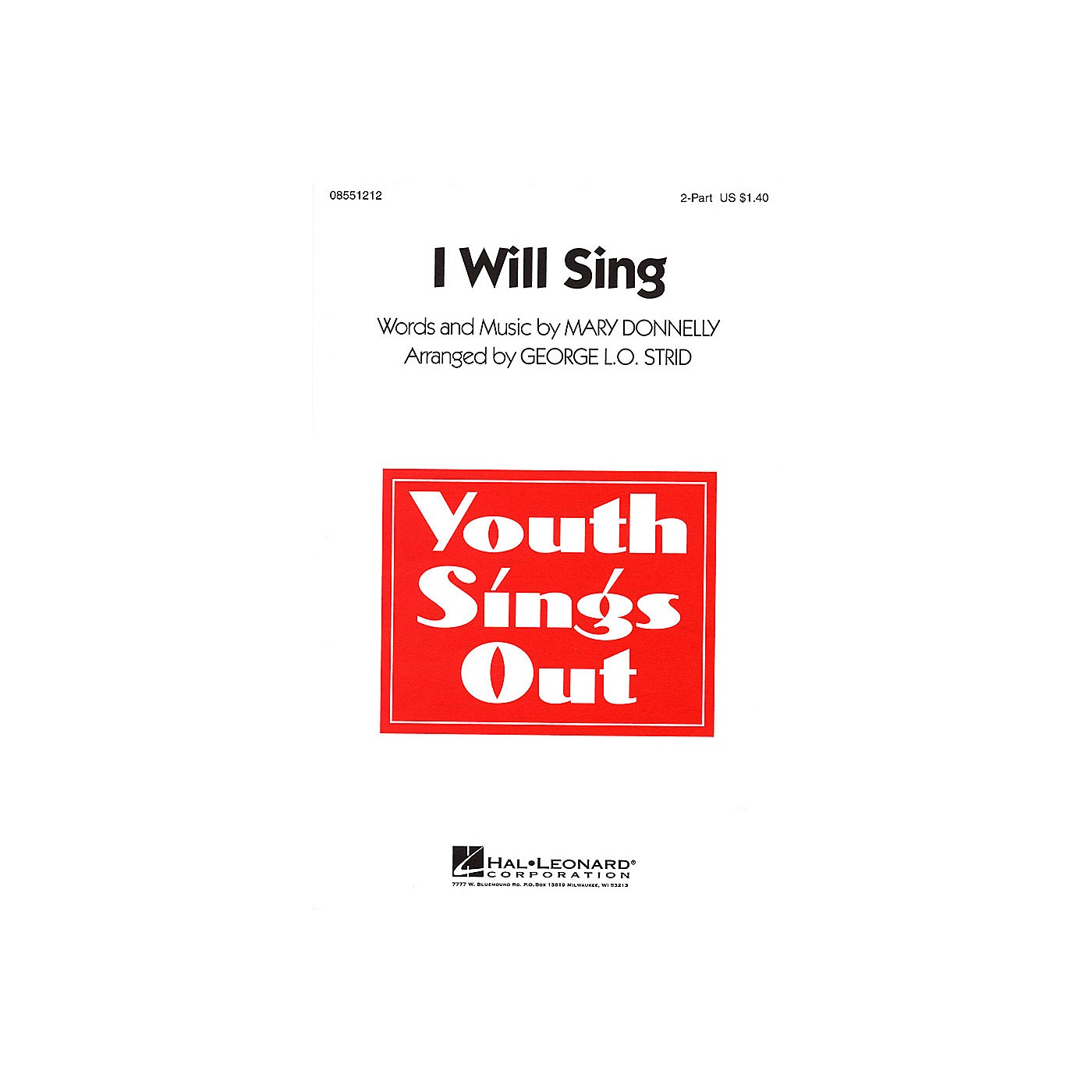 Hal Leonard I Will Sing 2-Part arranged by George L.O. Strid thumbnail