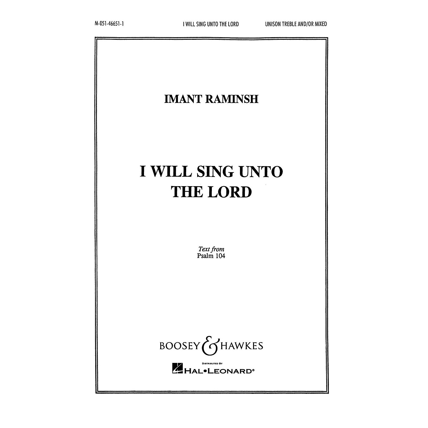 Boosey and Hawkes I Will Sing Unto the Lord (SATB and Piano) SATB composed by Imant Raminsh thumbnail