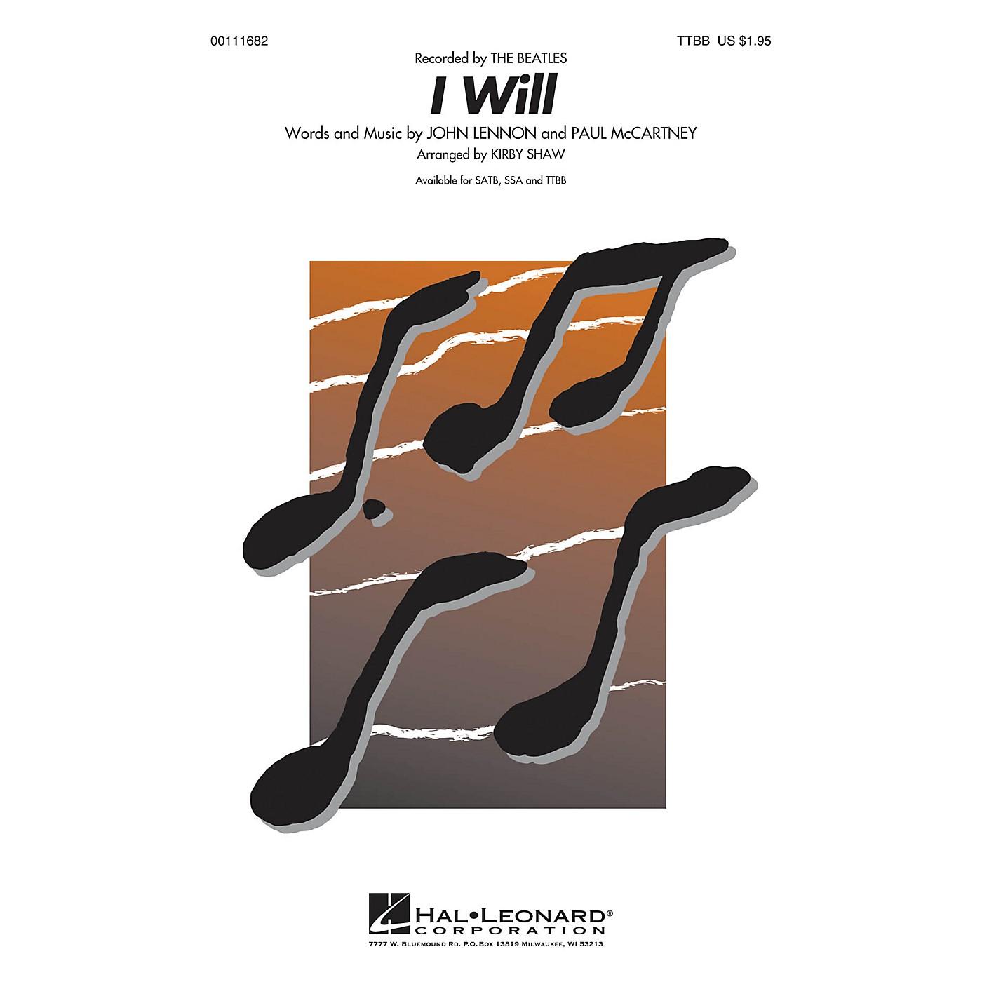 Hal Leonard I Will TTBB A Cappella by Beatles arranged by Kirby Shaw thumbnail
