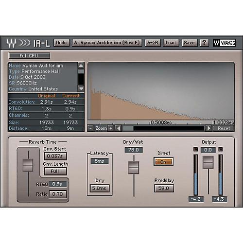 Waves IR1 Convolution Reverb Native/TDM/SG thumbnail