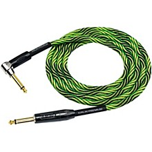 "KIRLIN IWB Black/Green Woven Instrument Cable 1/4"" Straight to Right Angle"