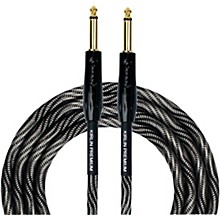 "KIRLIN IWB Black/White Woven Instrument Cable 1/4"" Straight"