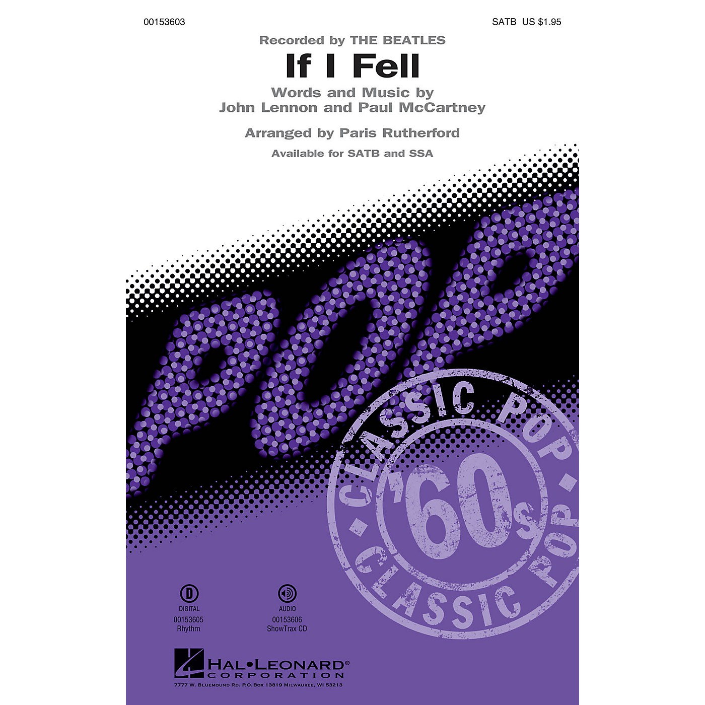 Hal Leonard If I Fell SATB by The Beatles arranged by Paris Rutherford thumbnail