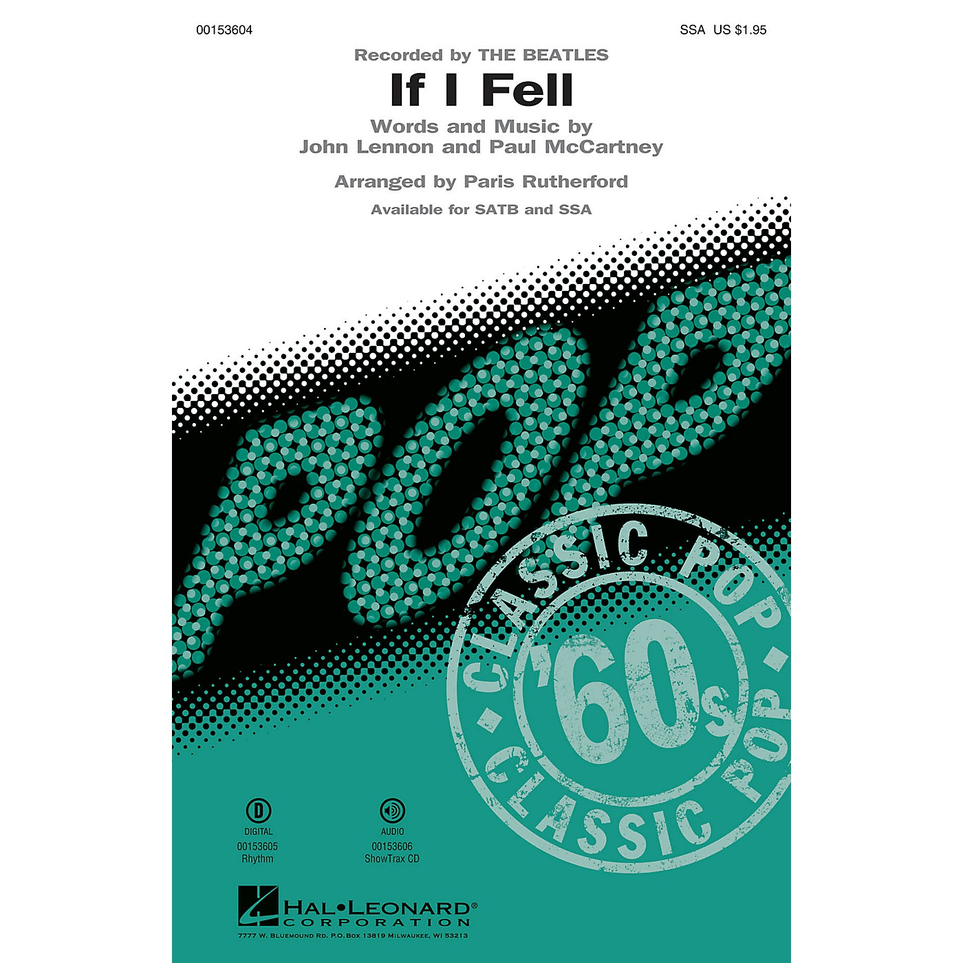 Hal Leonard If I Fell SSA by The Beatles arranged by Paris Rutherford thumbnail