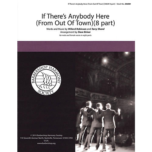 Hal Leonard If There's Anybody Here (from Out of Town) SATB a cappella arranged by David Briner thumbnail