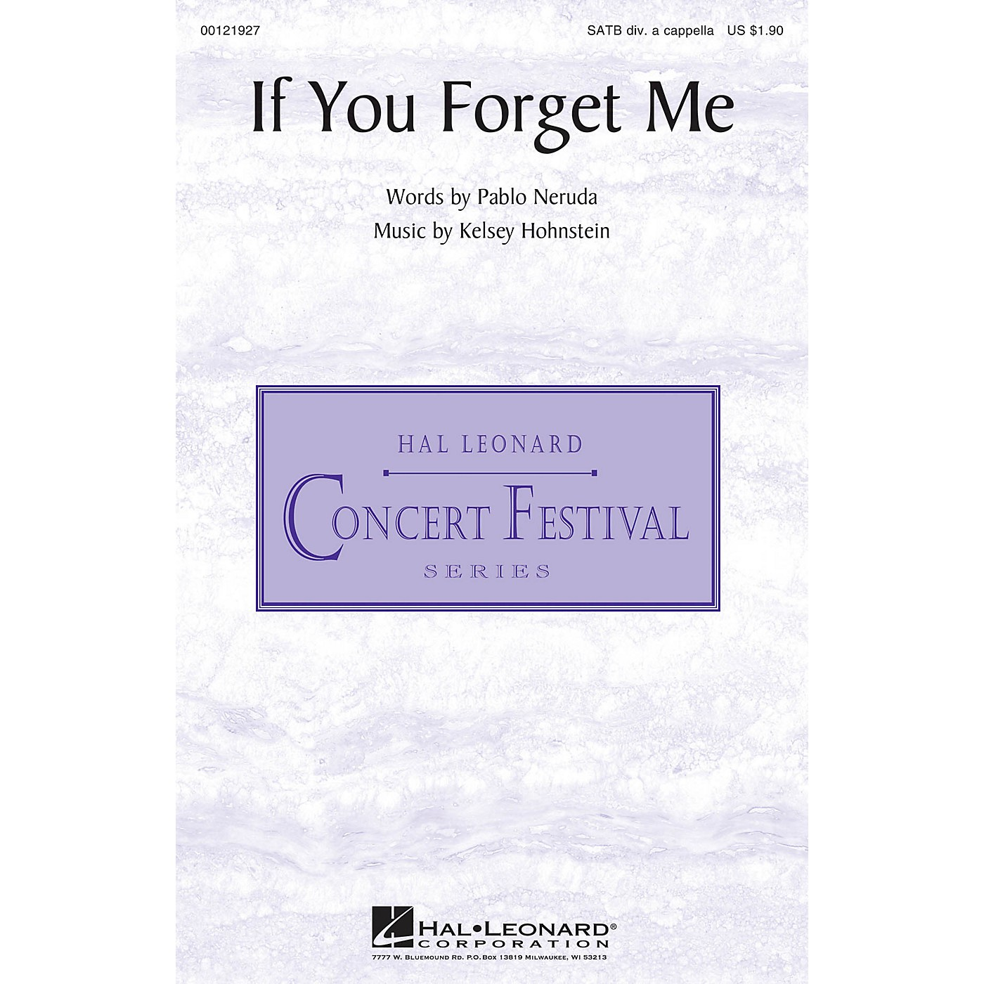 Hal Leonard If You Forget Me SATB DV A Cappella composed by Pablo Neruda thumbnail
