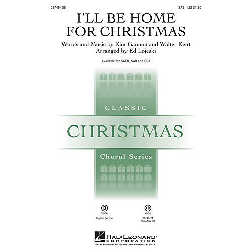 Hal Leonard I'll Be Home for Christmas SAB arranged by Ed Lojeski thumbnail