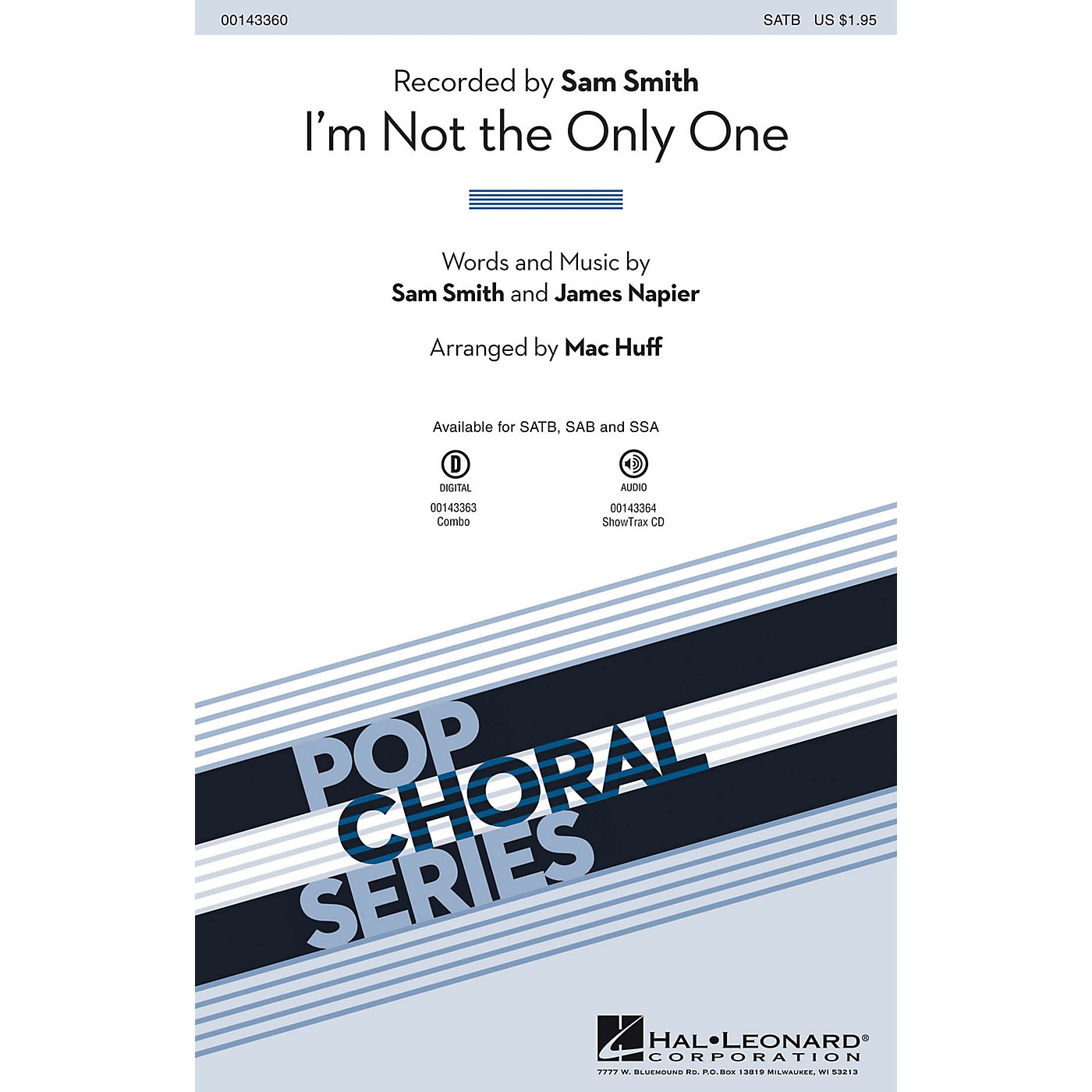Hal Leonard I'm Not the Only One ShowTrax CD by Sam Smith Arranged by Mac Huff thumbnail