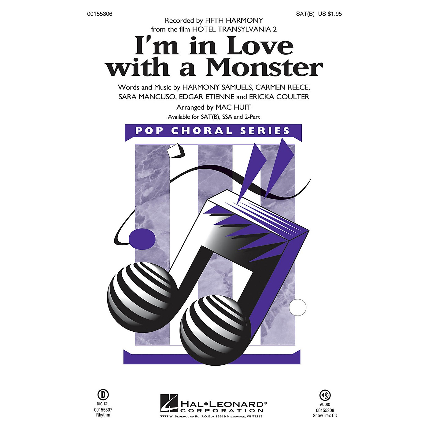 Hal Leonard I'm in Love with a Monster (from Hotel Transylvania 2) 2-Part by Fifth Harmony Arranged by Mac Huff thumbnail