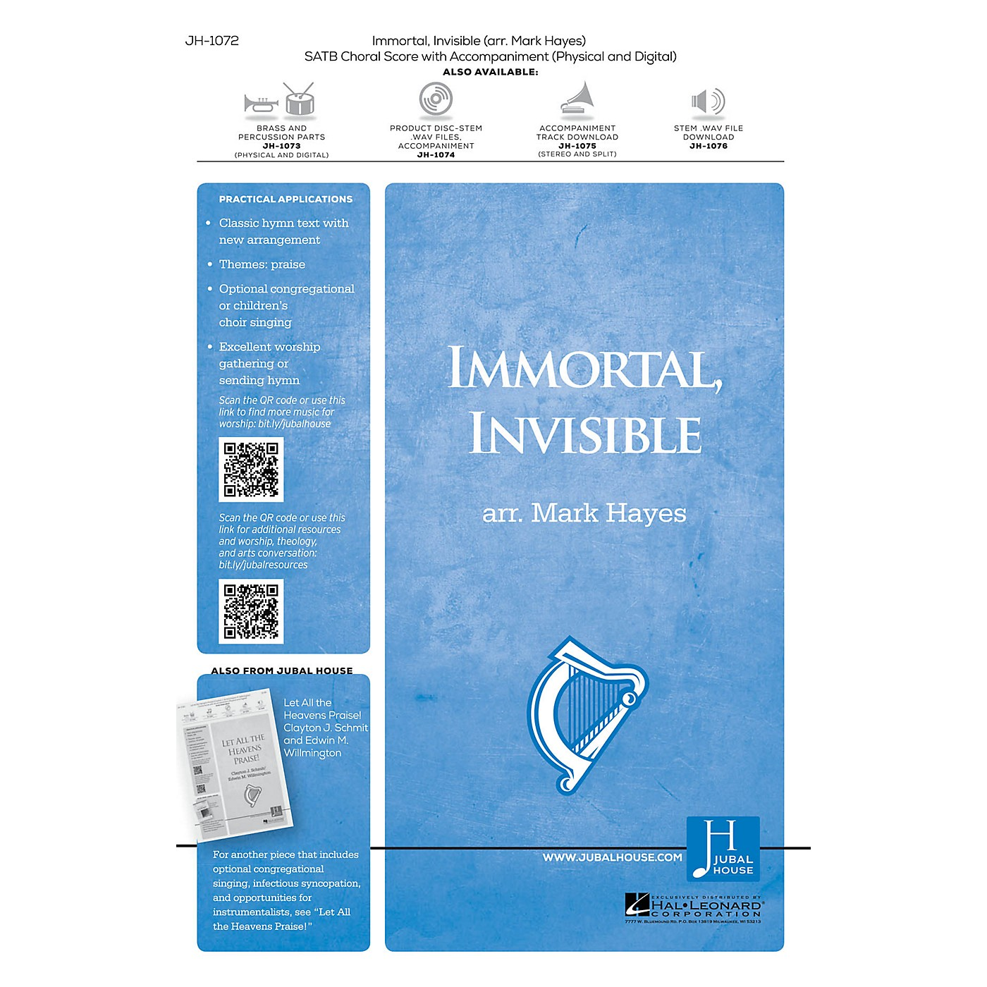 Jubal House Publications Immortal, Invisible, God Only Wise BRASS/PERCUSSION PARTS Arranged by Mark Hayes thumbnail