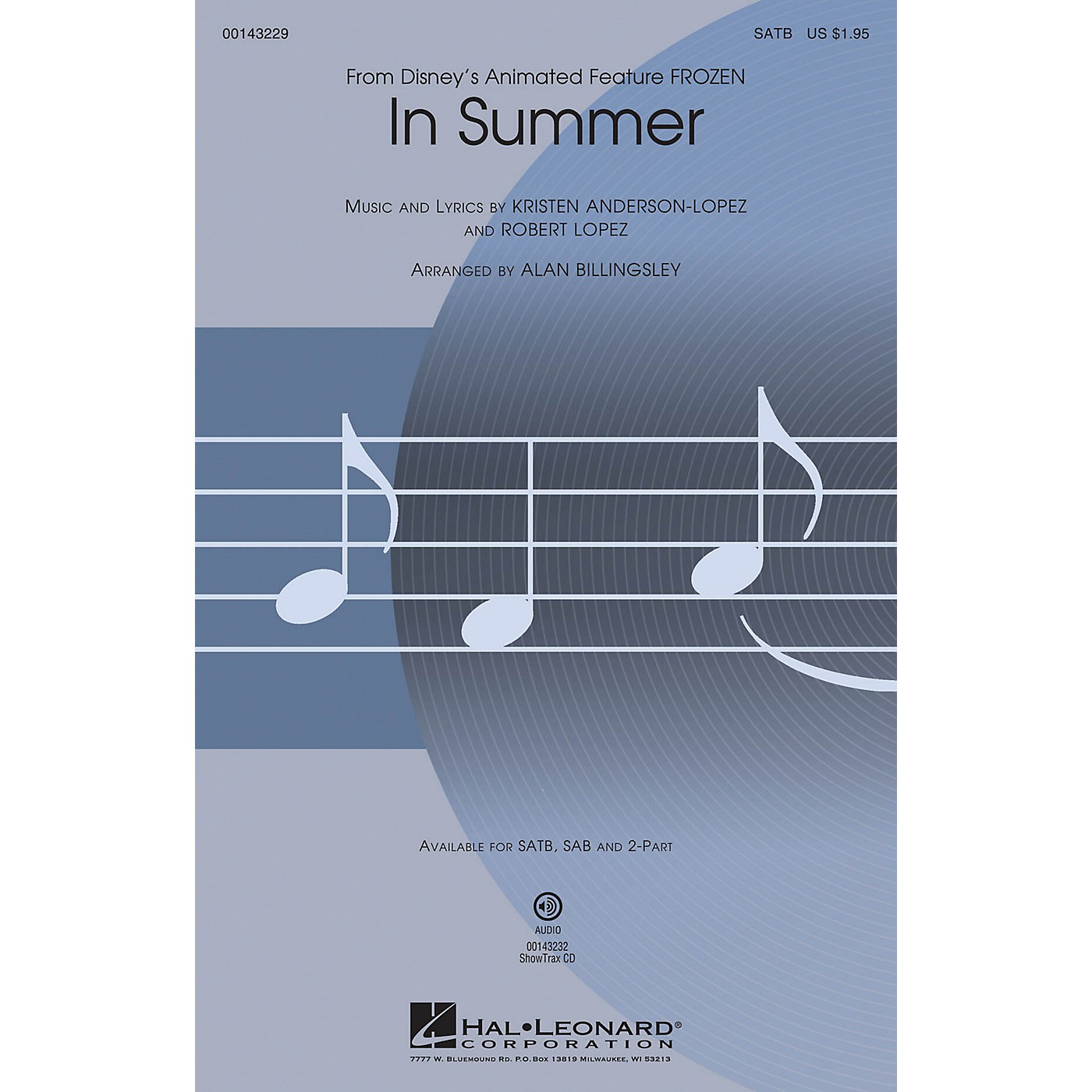 Hal Leonard In Summer (from Frozen) 2-Part Arranged by Alan Billingsley thumbnail