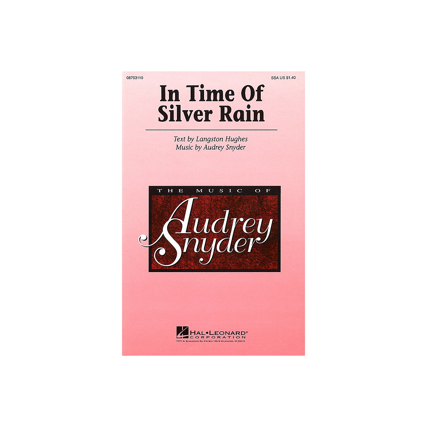 Hal Leonard In Time of Silver Rain SSA composed by Audrey Snyder thumbnail