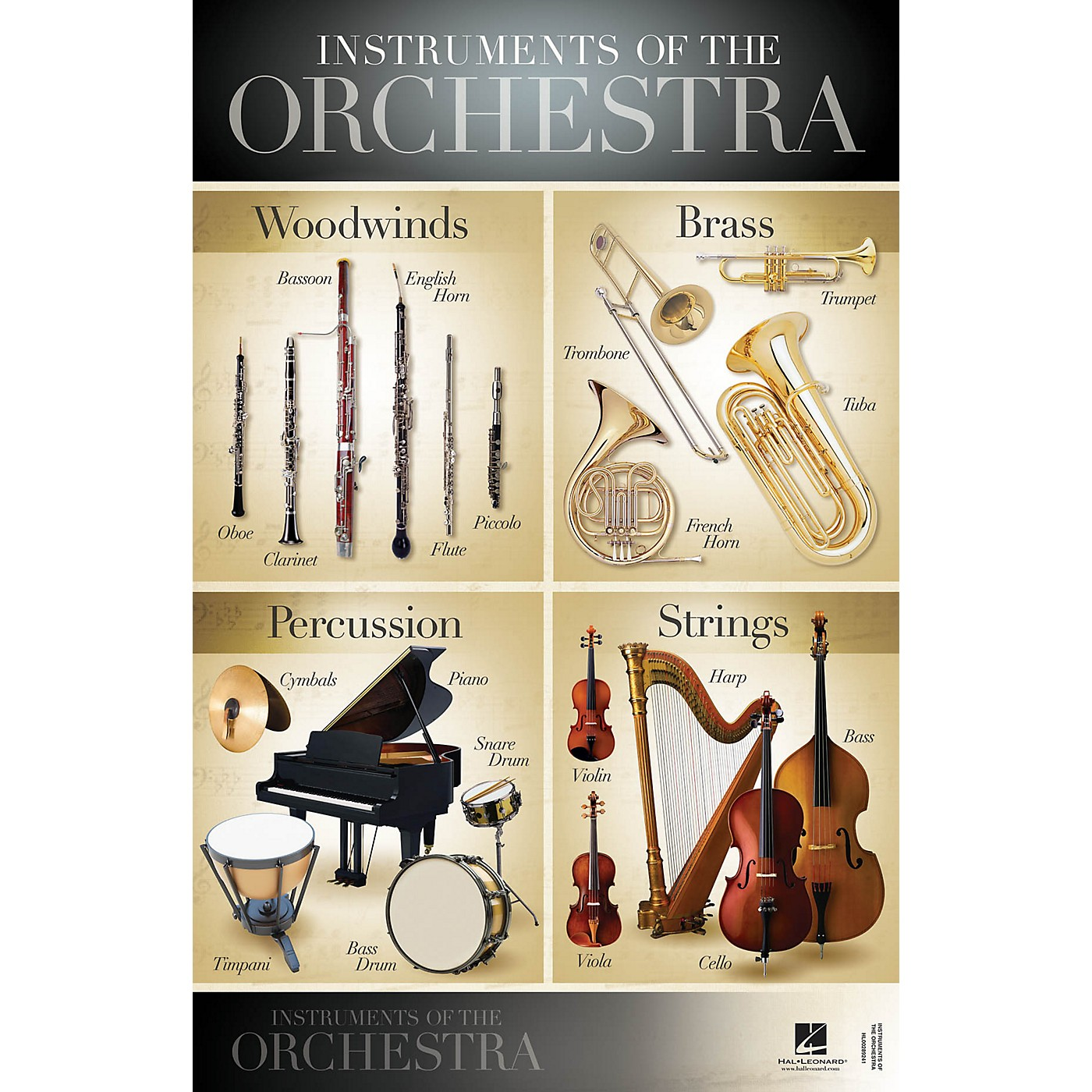 Hal Leonard Instruments of the Orchestra Wall Poster - 22 inch x 34 inch thumbnail