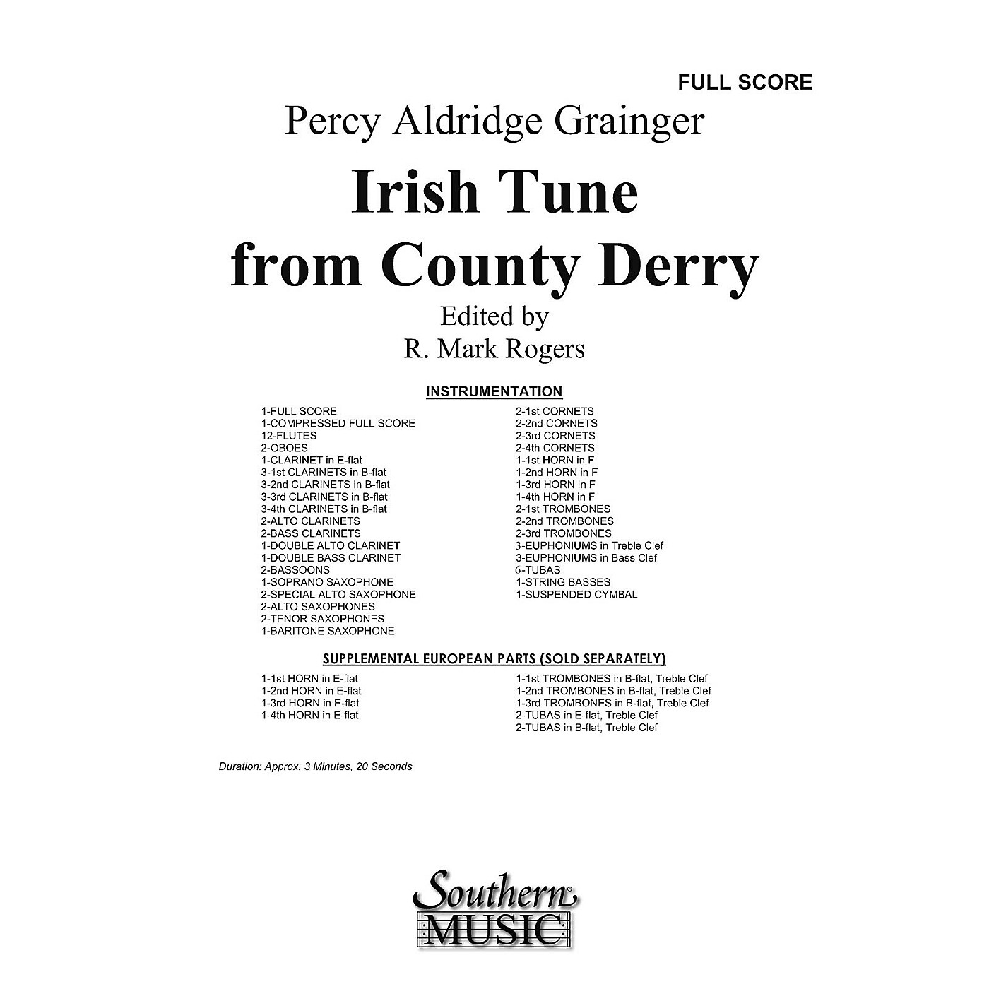 Southern Irish Tune from County Derry Concert Band Level 3 by Percy Aldridge Grainger Arranged by R. Mark Rogers thumbnail