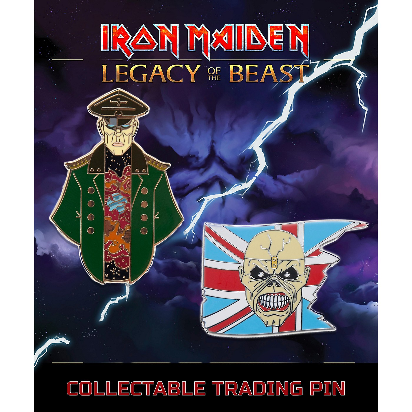 Entertainment Earth Iron Maiden Set #1 Trooper Eddie and General Lapel Pin 2-Pack thumbnail