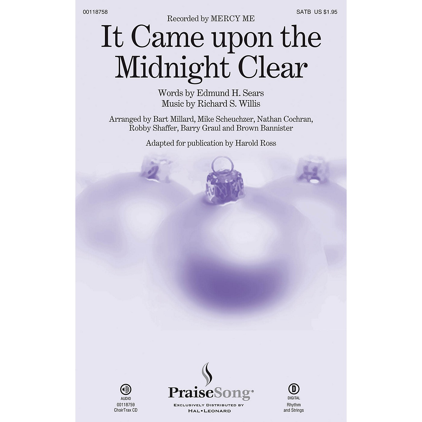PraiseSong It Came upon a Midnight Clear CHOIRTRAX CD by Mercy Me Arranged by Harold Ross thumbnail