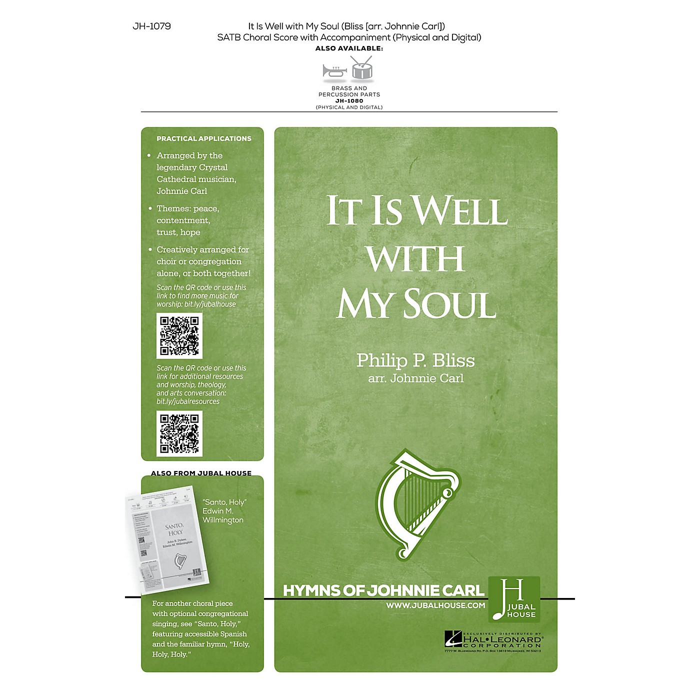 Jubal House Publications It Is Well with My Soul BRASS/PERCUSSION PARTS Arranged by Johnnie Carl thumbnail