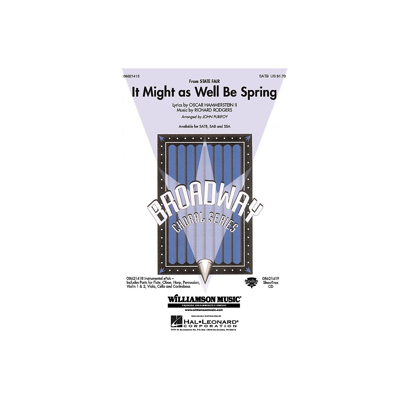 Hal Leonard It Might as Well Be Spring (from the film State Fair) SAB Arranged by John Purifoy thumbnail