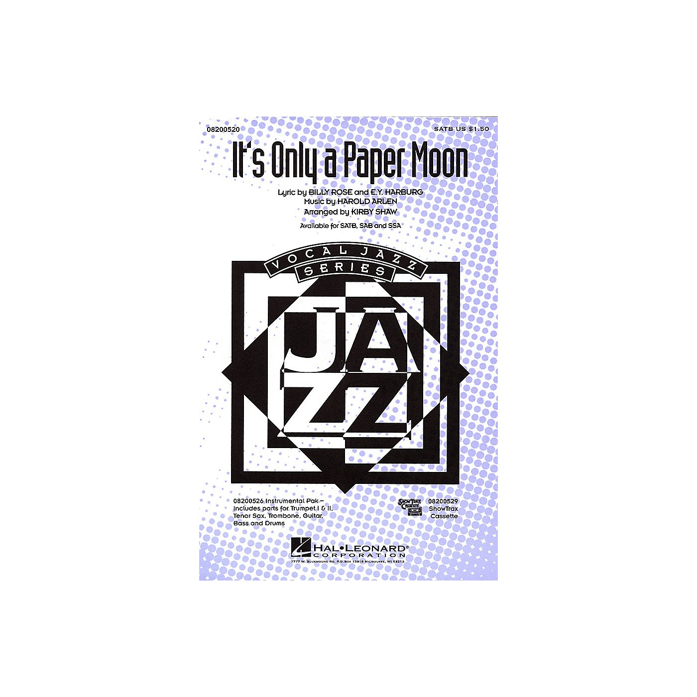 Hal Leonard It's Only a Paper Moon SATB arranged by Kirby Shaw thumbnail