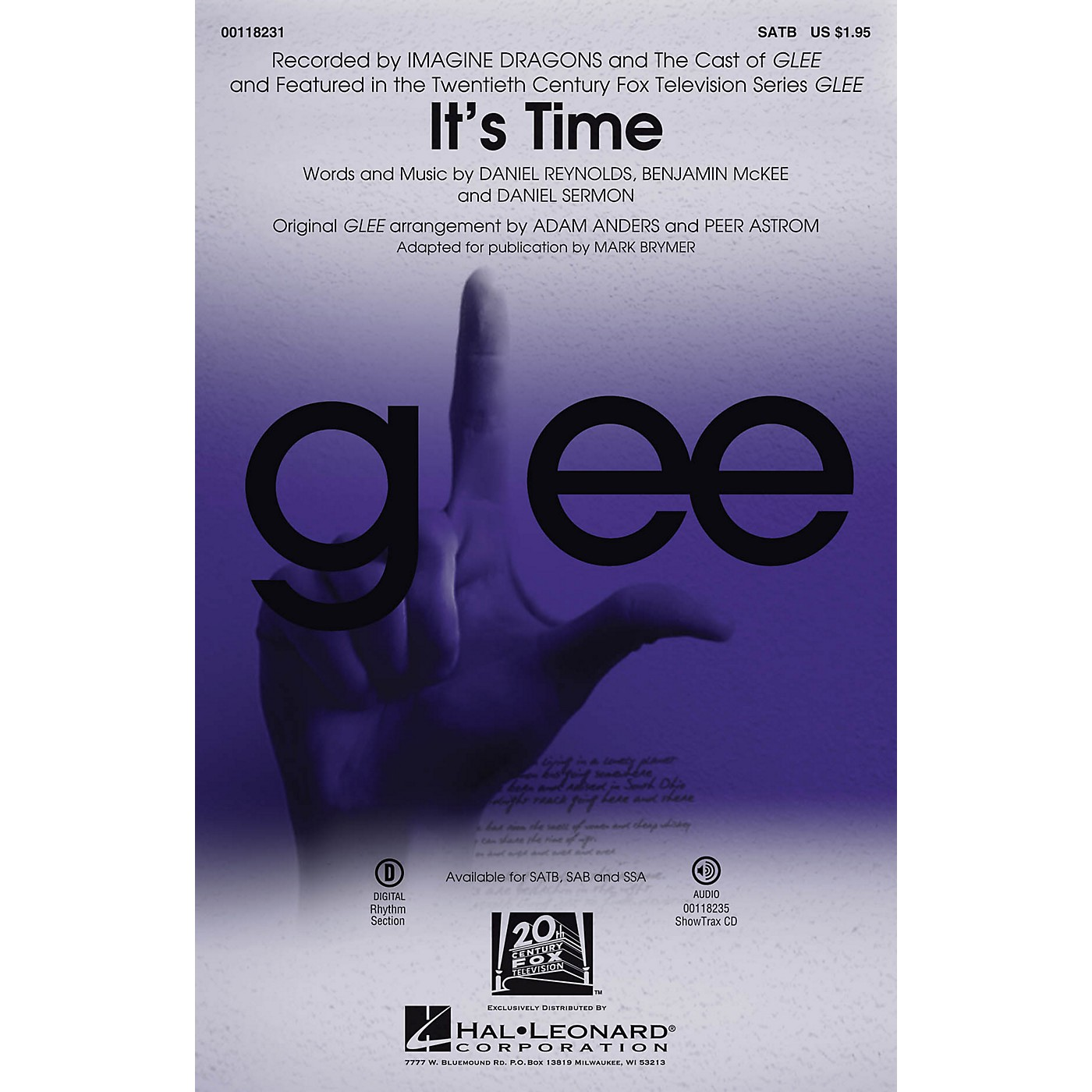 Hal Leonard It's Time SATB by Glee Cast arranged by Adam Anders thumbnail