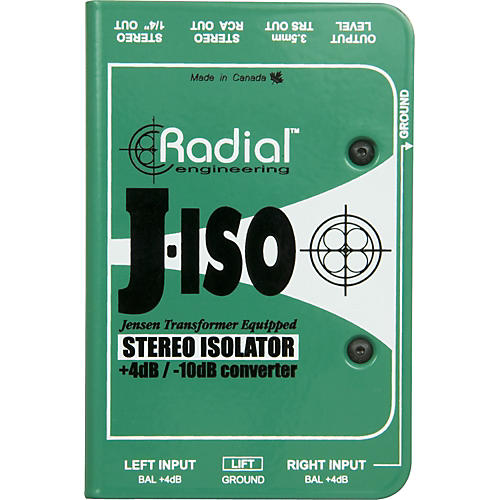 Radial Engineering J-ISO Jensen Transformer Equipped Stereo Isolator +4dB to -10dB Converter thumbnail