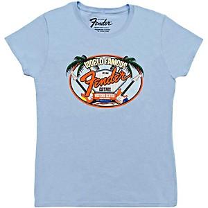Fender World Famous Visitor's Center Ladie's T-Shirt Light Blue Medium