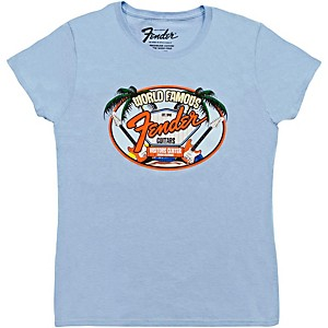 Fender World Famous Visitor's Center Ladie's T-Shirt Light Blue Large