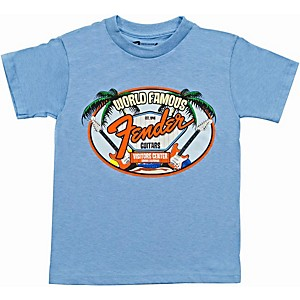 Fender World Famous Visitor's Center Youth T-Shirt Light Blue 2 YR/XS