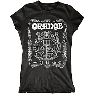 Orange Amplifiers Ladies Crest T-Shirt with White Crest Black Medium