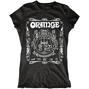Orange Amplifiers Ladies Crest T-Shirt with White Crest Black Large