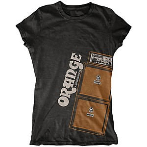 Orange Amplifiers Ladies Stack T-Shirt Black Large