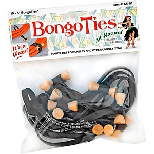 BongoTies All-Purpose Tie Wraps Bamboo & Black Rubber