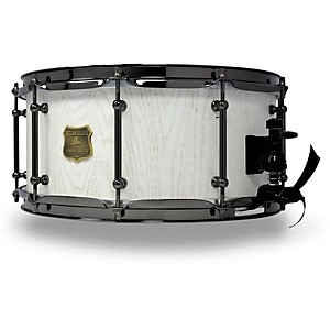 OUTLAW DRUMS Red Oak Stave Snare Drum with Black Chrome Hardware 14x6.5 Inch White Wash