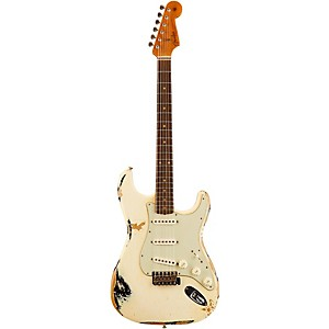 Fender Custom Shop 1962 Heavy Relic Stratocaster Electric Guitar Faded Vintage White over Black Rosewood