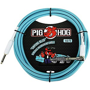 Pig Hog Right Angle Instrument Cable 10 ft. Daphne Blue