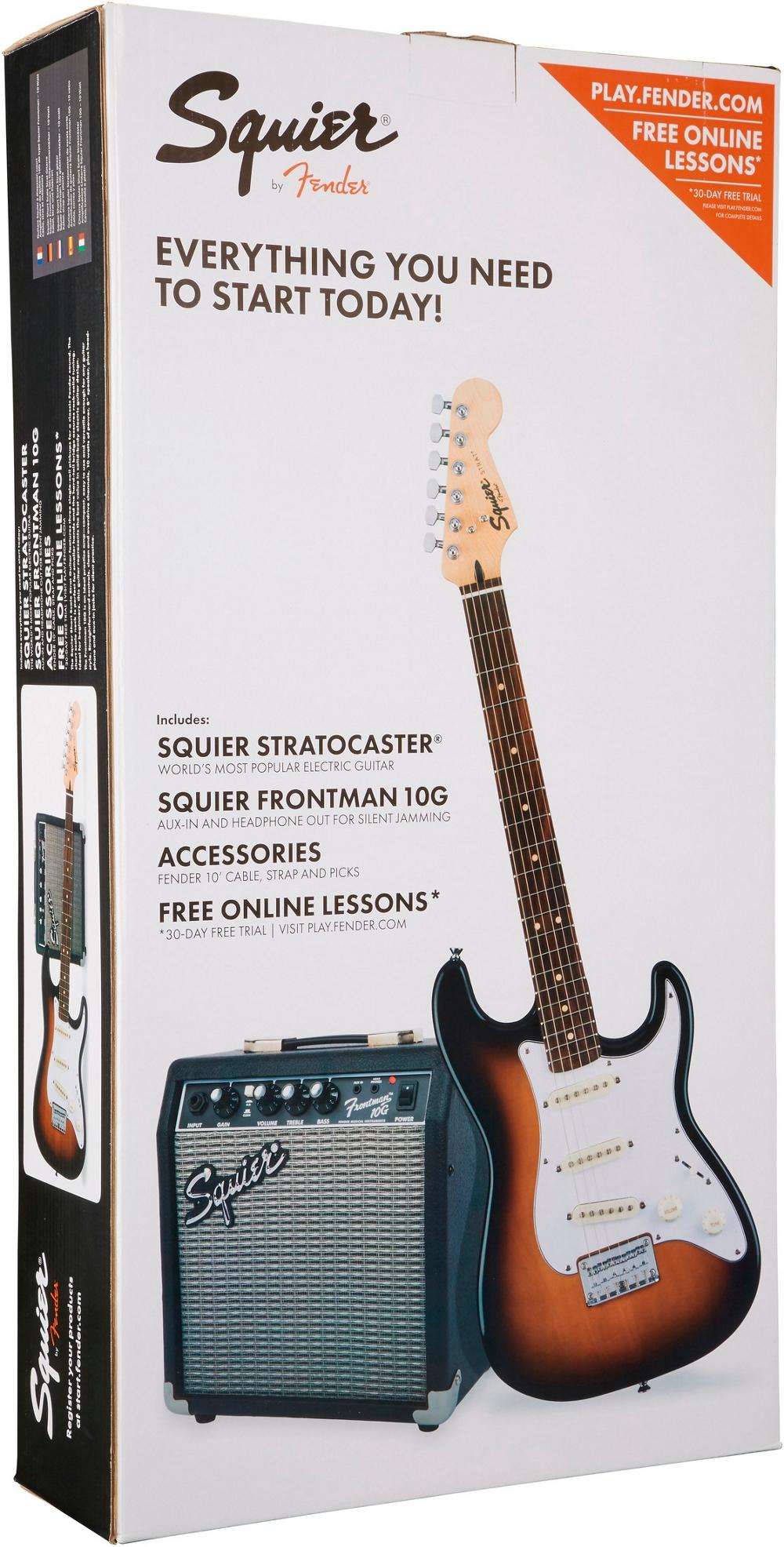 squier strat pack sss electric guitar w fender frontman 10g combo amp brown sb ebay. Black Bedroom Furniture Sets. Home Design Ideas