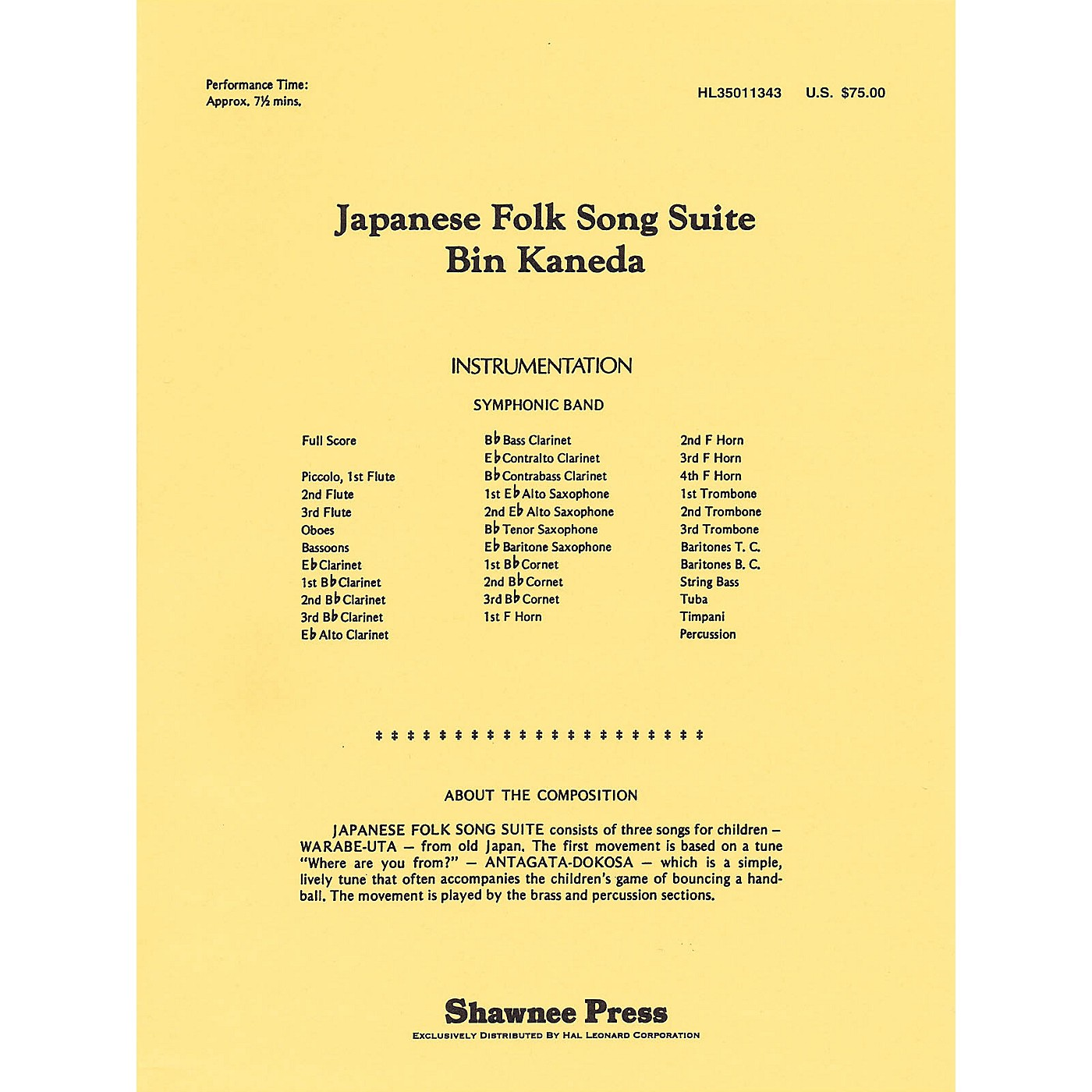 Shawnee Press Japanese Folk Song Suite Concert Band Level 4 Composed by Bin Kaneda thumbnail
