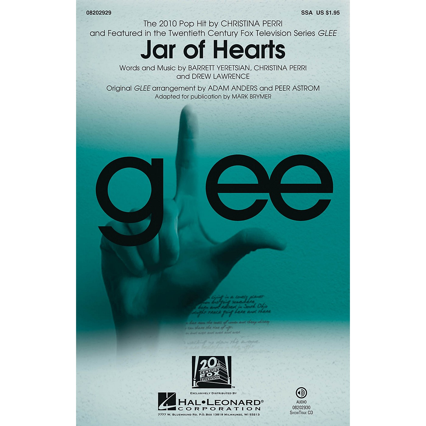 Hal Leonard Jar of Hearts ShowTrax CD by Christina Perri Arranged by Adam Anders thumbnail